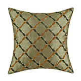 "Euphoria Cushion Covers Pillows Shell Faux Silk Sage Green Ground Dark Green & Orange Diamonds Chain Geometric Embroidered 18"" X 18"""