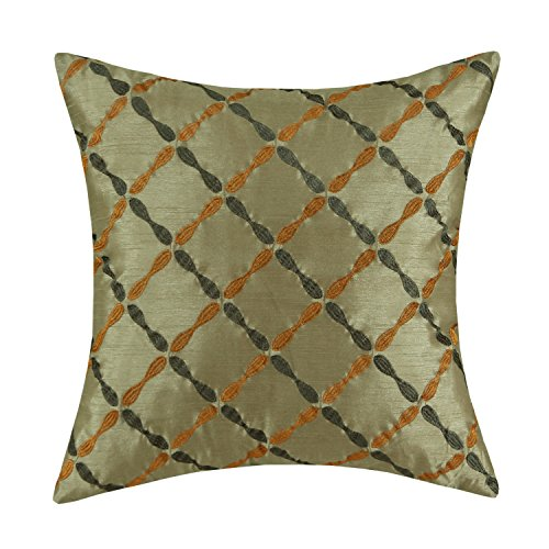 Euphoria CaliTime Cushion Cover Throw Pillow Case Shell 18 X 18 Inches, Sage Green Ground Dark Green & Orange Diamonds Chain Geometric Embroidered