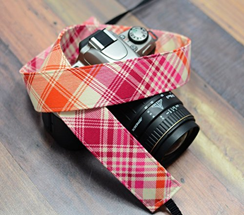 Pink-and-Orange-Plaid-dSLR-Camera-Strap