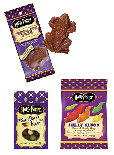 Harry Potter Jelly Gummy Candy Slugs, Bertie Botts Every Flavour Jelly Beans & Chocolate Crispy Frog (Bundle of 3 (Harry Potter Chocolate Frog)