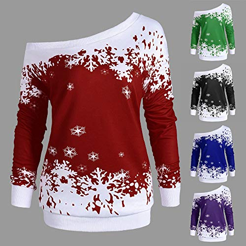 Kaifongfu Christmas Shirt Women Long Sleeve Pullover Tops