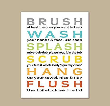 Love St Bathroom Rules Kids Poster Girls Poster Bathroom