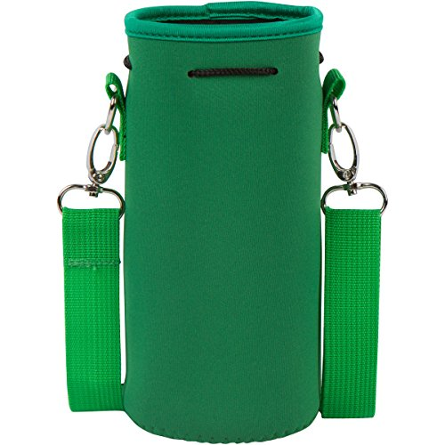 Neoprene Water Bottle Carrier Holder (32 ounces or 1-1.5 Liter) w/ Adjustable Shoulder Strap - Protect Your Containers From Damage - Cover Glass Bottles - Dog Bottle Carrier by Made Easy Kit (Green) ()