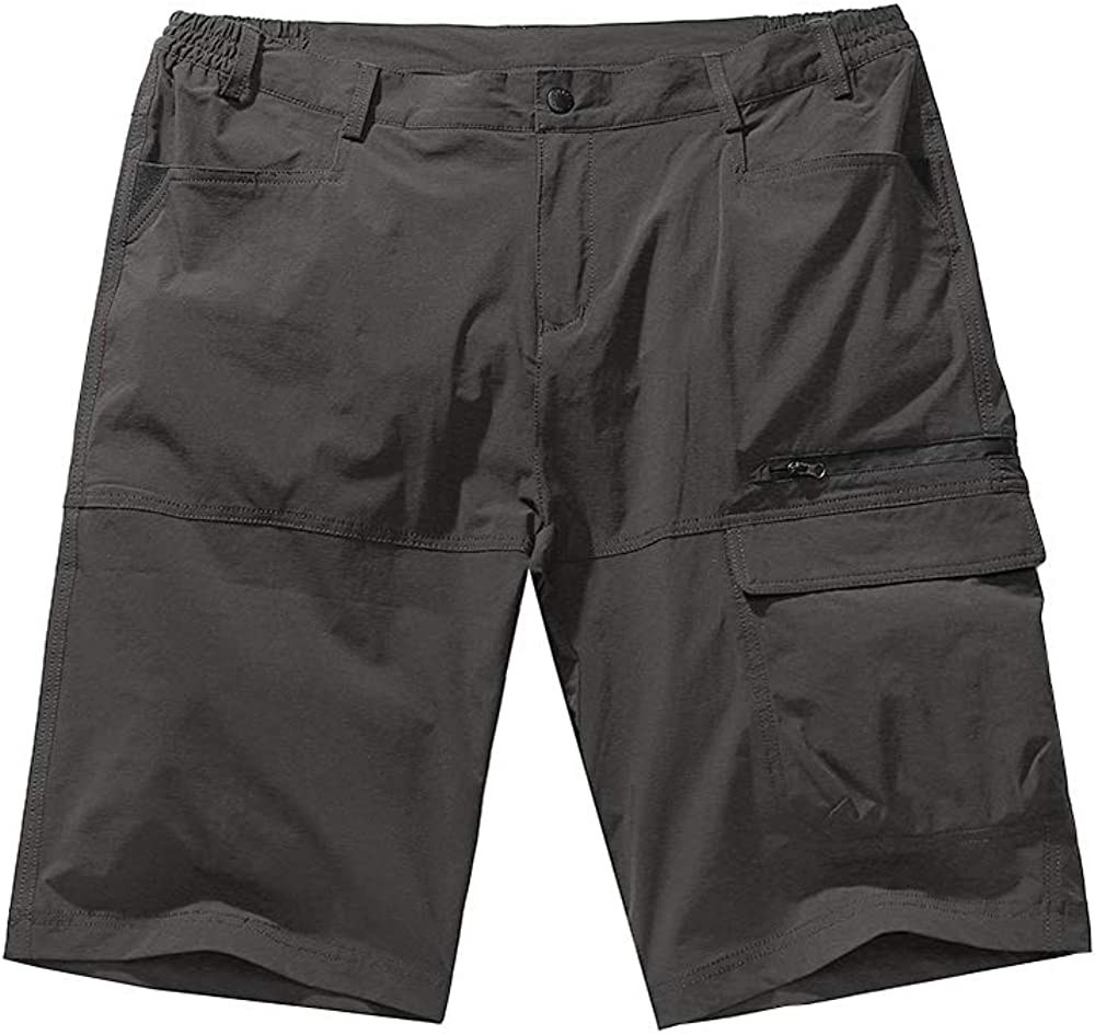 linlon Men's Outdoor Anytime Quick Dry Hiking Cargo Shorts, Lightweight Casual Tactical Fishing Shorts with Zipper Pockets