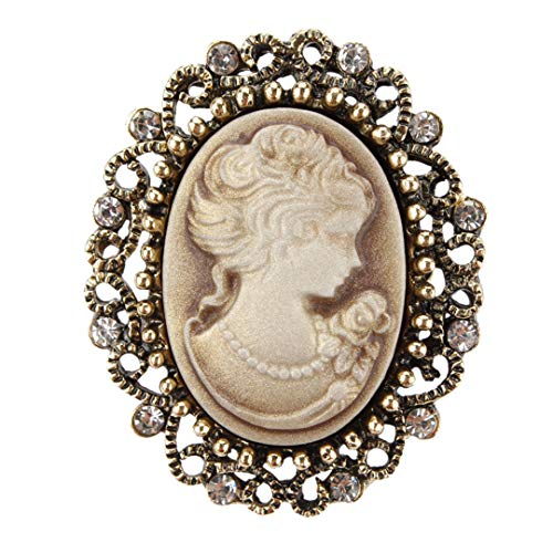 - Vintage Queen's Cameo Crystal Brooch Pins For Women In Antique Gold Color yellow