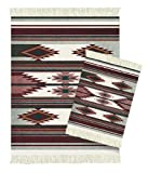 Lextra Earthtone Southwest MouseRug and CoasterRug Set, 10.25 x 7.125 Inches, Burgundy, Gray and Cream, One MouseRug and One Matching CoasterRug (CSW-S)
