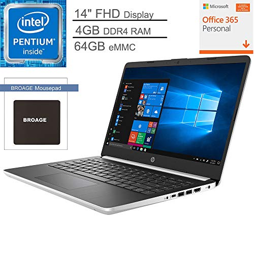 2020 HP 14 14.0″ FHD Laptop Computer, Intel Quad-Core Pentium Silver N5000 up to 2.7GHz, 4GB DDR4 RAM, 64GB eMMC, 802.11ac WiFi, Bluetooth 5.0, Silver, 1-Year Office 365, Windows 10, BROAGE Mouse Pad