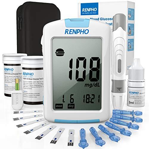 Diabetes Testing Kit, RENPHO Blood Glucose Monitor Kit with 1 Blood Glucose Meter, 100 Glucose Test Strips, 100 Lancets…