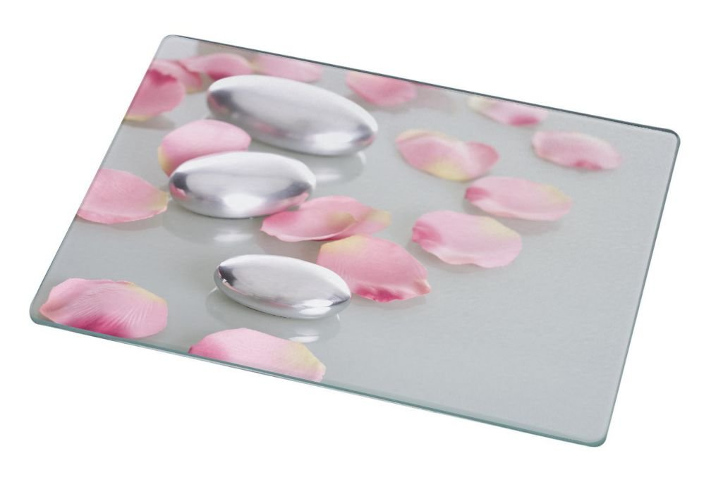 Rikki Knight RK-LGCB-2045 Spa Stones with Rose Petals Glass Cutting Board, Large, White