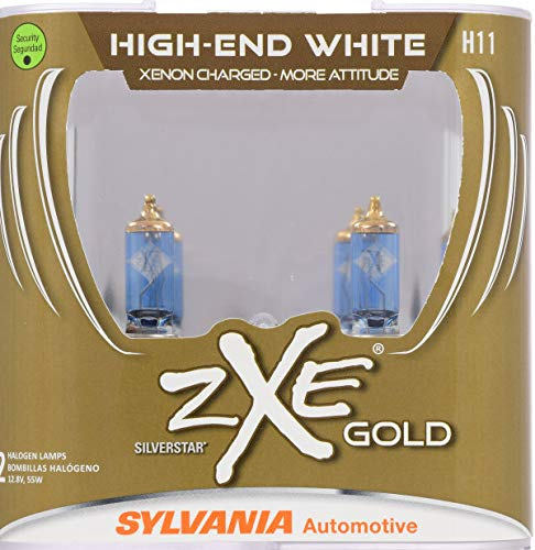 SYLVANIA - H11 (64211) SilverStar zXe GOLD High Performance Halogen Headlight Bulb - Headlight & Fog Light, Bright White Light Output, Best HID Alternative, Xenon Charged Technology (Contains 2 Bulbs)
