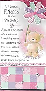 Tarjeta de cumpleaños A Friend~A Very Special Friend On Your Birthday~oso vestido y Morado Tarjeta de fina de mariposas