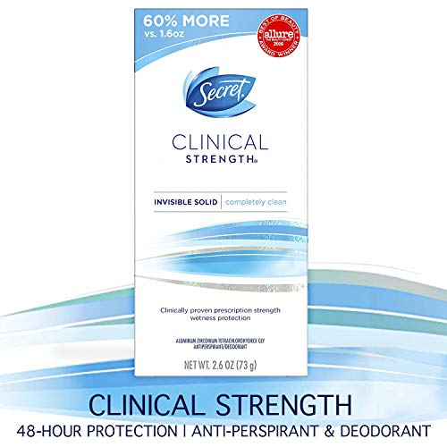 Secret Antiperspirant and Deodorant for Women, Clinical Strength Invisible Solid, Completely Clean, 2.6 (Best Female Deodorants)