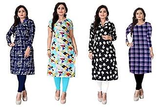 Kesari King Women's Crepe A-Line Semi-stitched Kurti (1023,24,25,38_Multicolored_Free Size)