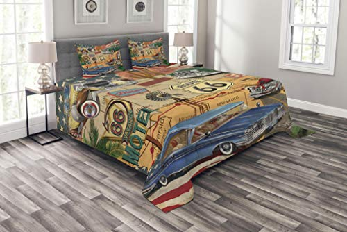 Road American Trip Traditional (Lunarable Route 66 Bedspread Set King Size, Old Fashioned Cars Motorcycle on A Map Road Trip Journey American USA Concept, Decorative Quilted 3 Piece Coverlet Set with 2 Pillow Shams, Multicolor)
