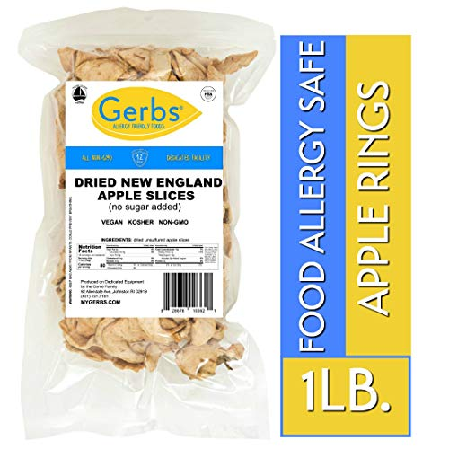 Gerbs Dried New England Apple Slices 1 LB - Unsulfured Preservatives Free - Top 14 Allergy Free & NON GMO - Product of USA ()