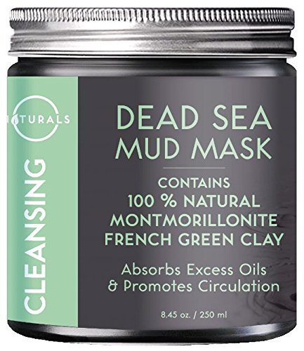 O Naturals Dead Sea Mud Mask with French Green Clay 8.45 oz. 100% Natural Cleansing Facial Mask for Exfoliating, Absorbing Excess Oils, Reducing Acne, Promoting Circulation & Tightening Pores. Vegan. Oil Absorbing Clay