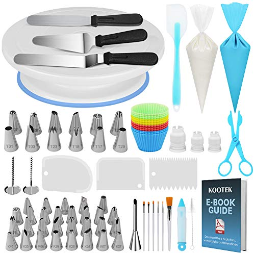 - Kootek 178 Pcs Cake Decorating Kit Supplies with Cake Turntable Numbered Piping Tips E-book Guide Pastry Bags Frosting Spatula Icing Smoother Decoration Pen Cake Paint Brush Silicone Baking Cups