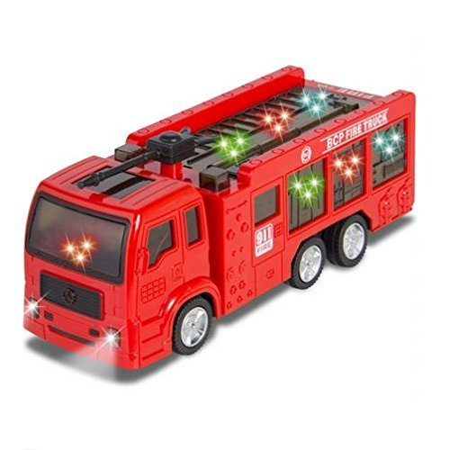 ToyZe Fire Truck for Kids : Kids Toy Fire Truck Electric Flashing Lights and Siren Sound, Bump and Go Action : Bup Bump Go Electric Flashing Lights by (Sierra Dually Box)