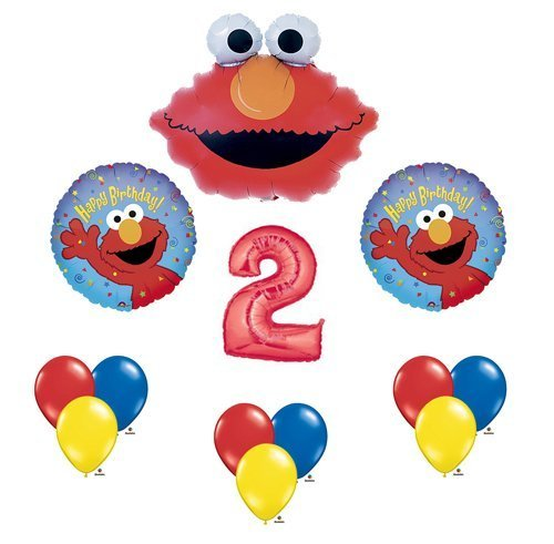 Elmo Sesame Street #2 2nd Second Birthday Party Supply Balloon Mylar Latex Set by Anagram (Elmo Decoration)