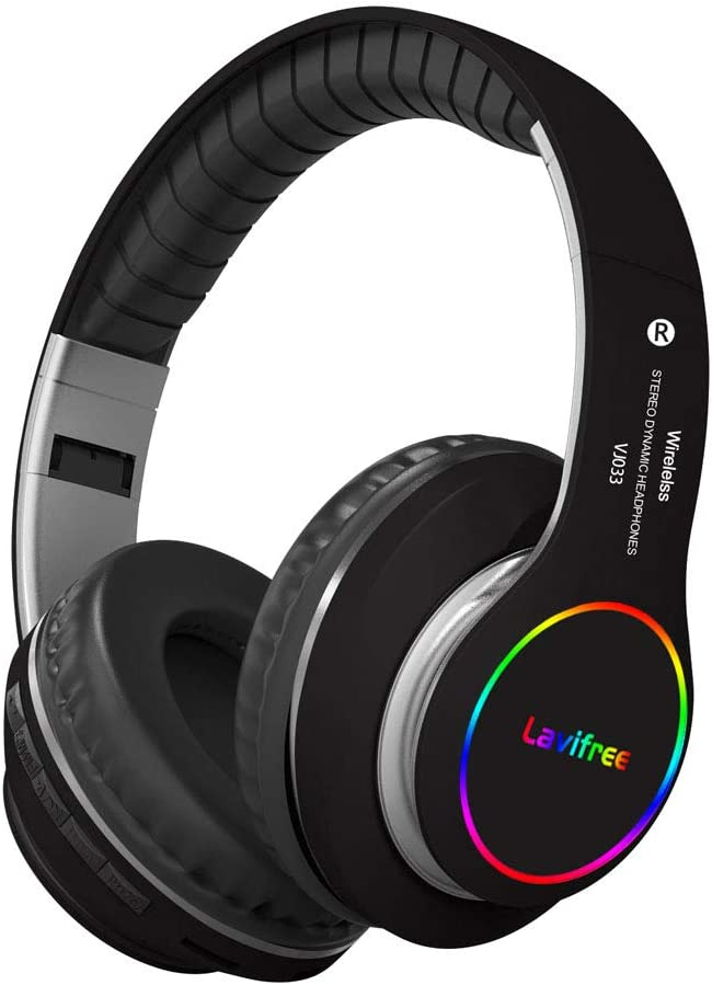 Bluetooth Headphones,Wireless/Wired Over Ear Headset,Hi-Fi Bass Stereo, Built-in Mic,LED Light Up,Foldable,Micro SD/TF, FM for Adult Teen Kid for iPhone/Samsung/iPad/PC/Android/Laptop/TV(Black)