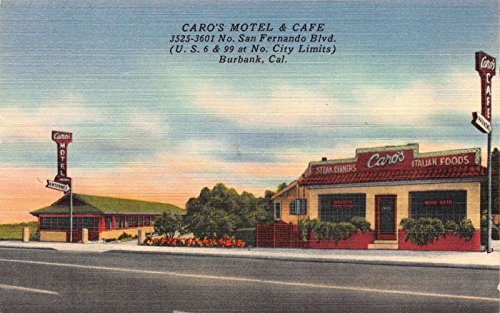 Linen Postcard Caro's Motel and Cafe in Burbank, - Stores In Burbank