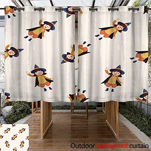 RenteriaDecor Outdoor Ultraviolet Protective Curtains Halloween Party Costume Cartoon Seamless Pattern Background W96 x L72]()