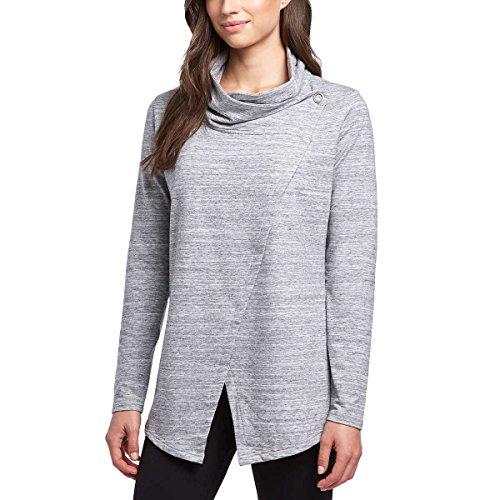 Danskin Womens Wrap Long Sleeve Yoga Cardigan (Large, Grey Heather) (Wrap Cardigan)