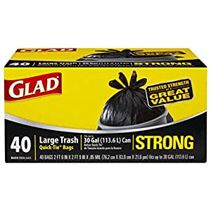 Glad Strong Quick-Tie Large Trash Bags, 30 Gallon, 40 Count (Pack of 4)