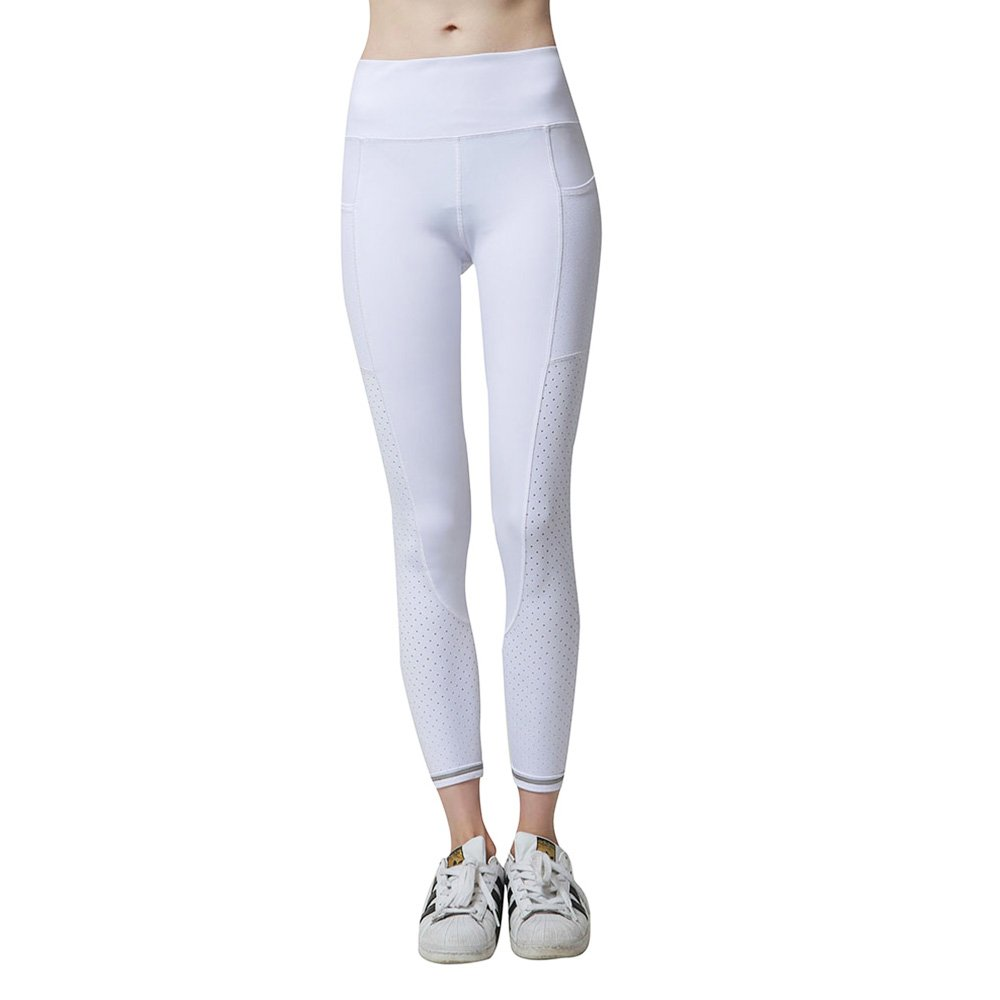 newlashua Women\'s Mesh Workout Leggings Athletic Capri Non See-Through Yoga Pants XL White