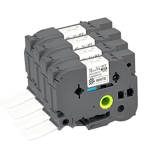 Compatible P Touch Security Label Tape 4Pack TZSE4 TZe SE4 TZ Cartridge Label Orison Self Adhesive Cassette Refills Black on White,0.7 inch x 26.2Feet(18mm x8m) by Label Orison