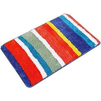 Rainbow Striped Bath Rug Microfiber Non Slip Mat Anti-Slip carpet 19.6*31.4 In