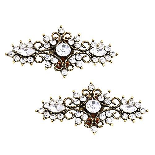ElegantPark BH 2 Pcs Shoe Clips Leaf Design Rhinestones Wedding Party Decoration Antique Gold