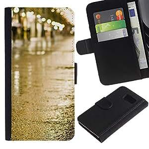 LASTONE PHONE CASE / Lujo Billetera de Cuero Caso del tirón Titular de la tarjeta Flip Carcasa Funda para Samsung Galaxy S6 SM-G920 / Street Rain Wet City Lights View