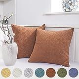 Decorative Pillow Cover - Kevin Textile Decor Solid Decorative Toss Euro Pillow Cover Case Striped Corduroy Cushion Cover for Sofa, Burnt Brick, 18x18-inch (45cm), 2 Pieces