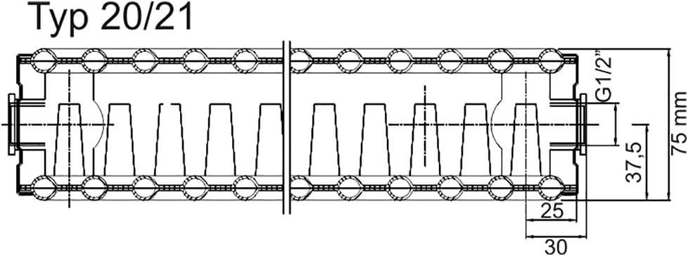 """Austausch-Heizk/örper 21//550//400-4 Anschl/üsse: 2x recht /½/""""IG RAL 9016 - qpool24 Verkehrswei/ß 2x links /½/""""IG"""