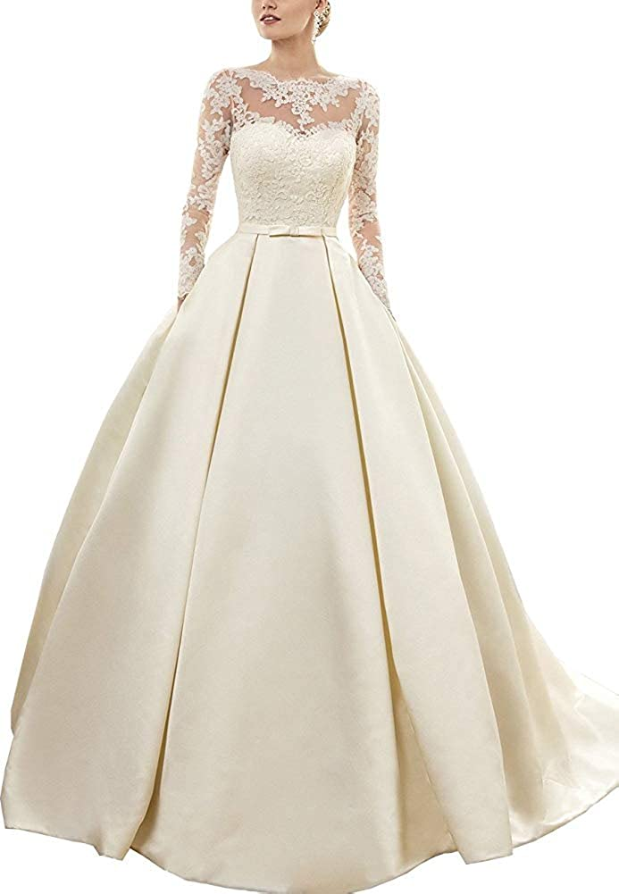 Onlylover Womens Lace Wedding Dress Long Sleeves Sweep Train Satin Bridal Gown
