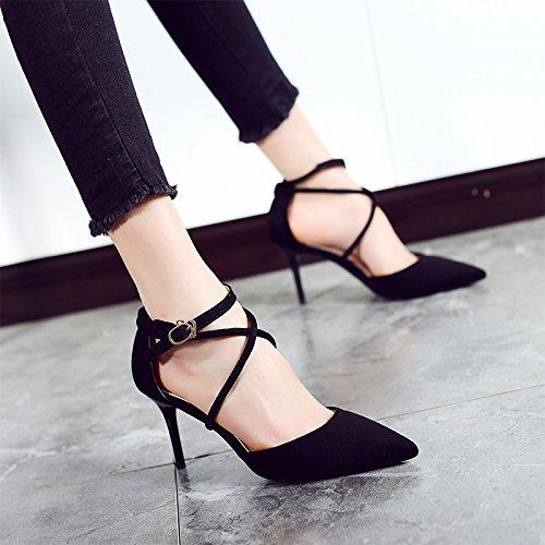 Jqdyl High Heels Cross Straps High Heels Damen Fruuml;hling und Sommer spitzen fein mit wilden Sandalen neue Schuhe  38|Black 8cm