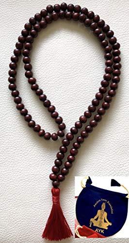 Rosewood red sandalwood 8mm handmade 108+1 beads prayer japa mala necklace -Energized yoga meditation beads jaap mala - W/Free Velvet Mala Pouch - US Seller