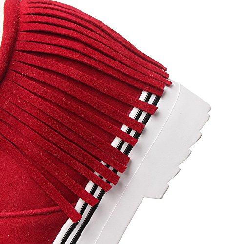 AllhqFashion Mujer Puntera Cerrada Sintético Puntera Redonda Tacón Alto Sin cordones Sólido De salón Rojo