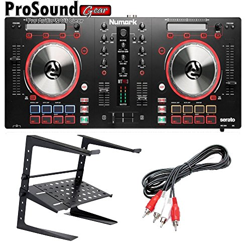 Numark Mixtrack Pro 3 All-In-One DJ Controller for Serato DJ + free laptop stand and RCA (Nv Numark Controller)