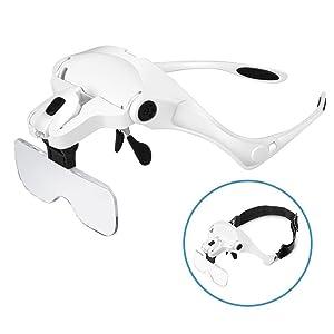 Tumao ヘッドルーペ メガネ LED付拡大鏡サイズ
