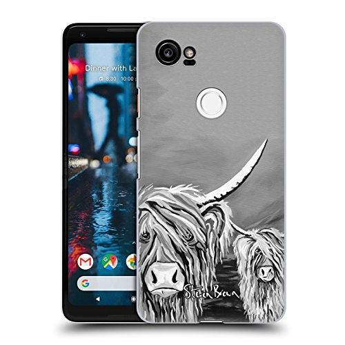 Official Steven Brown Rab & Isa Mccoo The Noo Highland Cow Black & White Hard Back Case for Google Pixel 2 - Isa Google