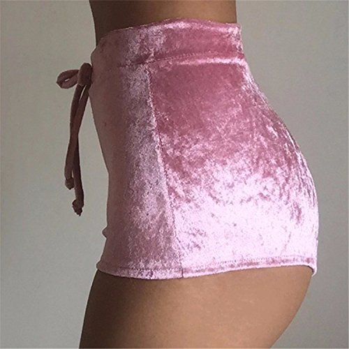 [Dotticool Various Lace Shorts Spring Summer Casual Fashion High Waist Shorts Sexy Women Elastic Waist Shorts Plus Size Shorts Pink XL Fashion] (Celebrities To Dress Up As)