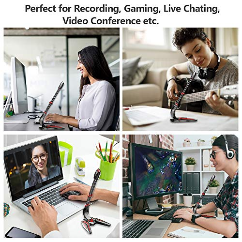 USB Computer Microphone, Cshare Desktop PC Laptop PS4 Mic with Headphone Jack, LED Gooseneck Condenser Plug&Play for Gaming, Recording, Podcast, YouTube, Skype, Live Broadcast, Video Conference