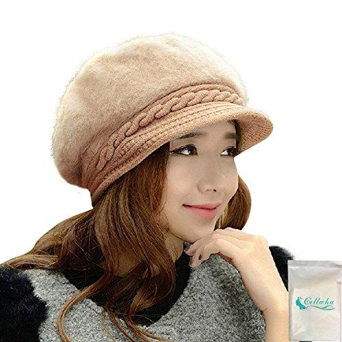 Gellwhu Women Girls Rabbit Fur Knit Hat Winter Warm Snow Cap with Visor (Khaki) (Ranger Adult Accessory Kit)