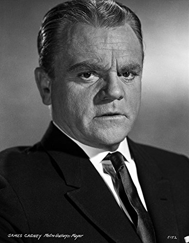 Background Black Necktie (James Cagney Portrait Looking Serious in Black Velvet Suit and Black Silk Necktie with White Collar Shirt and Brushed Up Hair on Grey Background Photo Print (8 x 10))