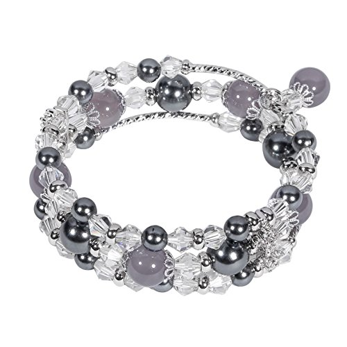 Tomazon Fashion Handmade Faux Pearl Beaded Crystals Stretch Elastic Wrap Around Wrist Bracelet Bangles for Women Girls (3 rows - gray) (Elastic Of Bracelet Mother Pearl)