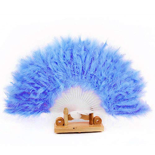 (m·kvfa Elegant Feather Hand Fan for Dance Props Hand Goose Feather Folding Fan Wedding Showgirl Dance Fancy Dress Wedding Party Decor Favour Church Gift Dance (F(Blue)))