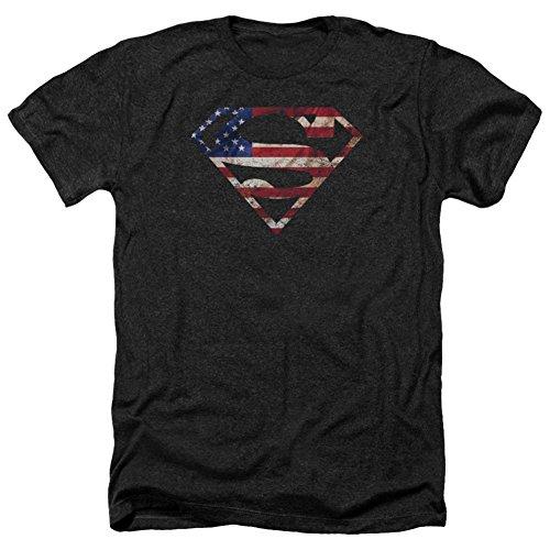 Superman- U.S. Flag Shield Distressed T-Shirt Size L (Superman: Man Of Steel Cape)