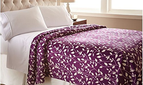 The Best Ultra Super Soft LEAF Pattern DESIGN Luxury Full/Queen Size Blanket, Purple/Ivory